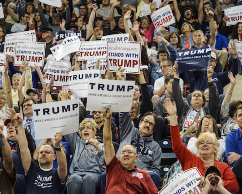 Apr 21, 2016; Harrisburg, PA, USA; Members of the audience cheer during a campaign rally for Republican presidential candidate Donald Trump at the Pennsylvania Farm Show Complex. Mandatory Credit: Jeremy Long/Lebanon Daily News via USA TODAY Network
