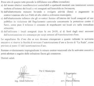 La parte finale della missiva inviata dal Municipio di Locarno all'associazione culturale la rada.