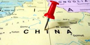 pushpin marking on China map
